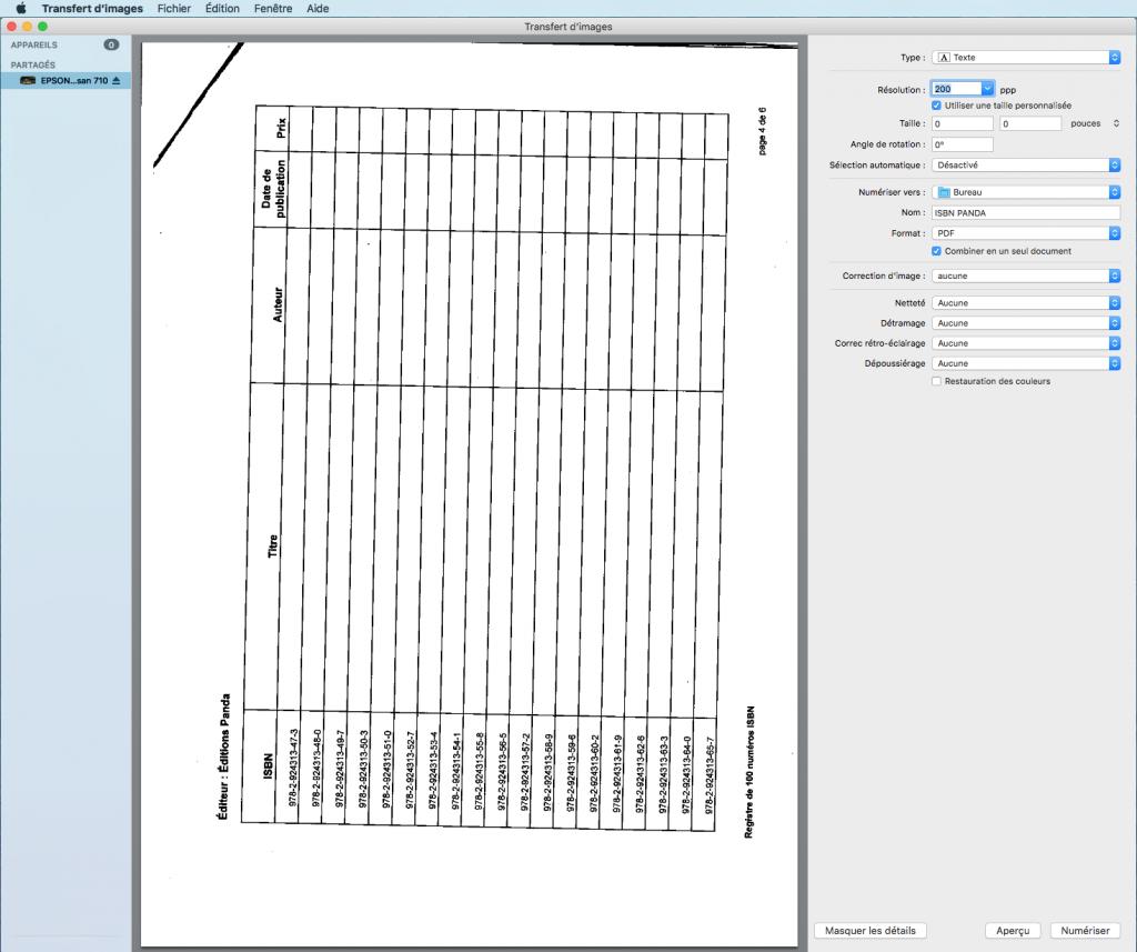 Avec l'application de numérisation, choisissez le type Texte (ou reconnaissance texte ou Line art selon les scanners) et optez pour le format PDF avec l'option combinant tous les prochains scans préalablement enregistrés dans le même document. Préférez une résolution ni trop élevée ni trop basse, afin de pouvoir imprimer au besoin et de ne pas faire prendre trop d'espace inutile au document, et hop, vous avez fait le premier pas.